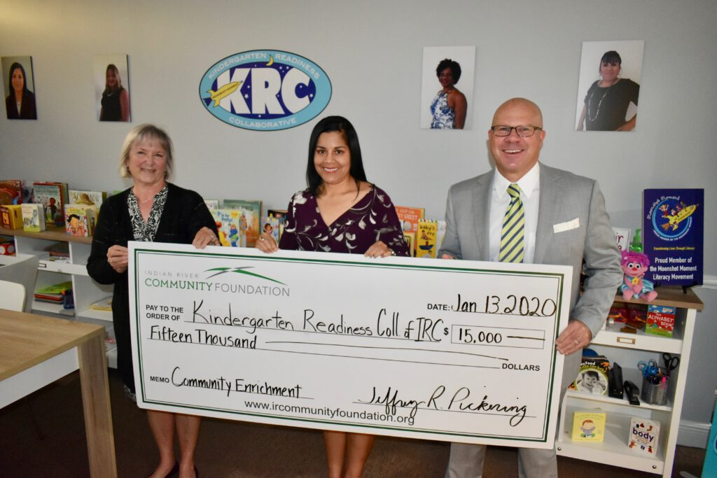 Kindergarten Readiness Collaboration is presented with $15,000 check from IRCF's Community Enrichment Fund.