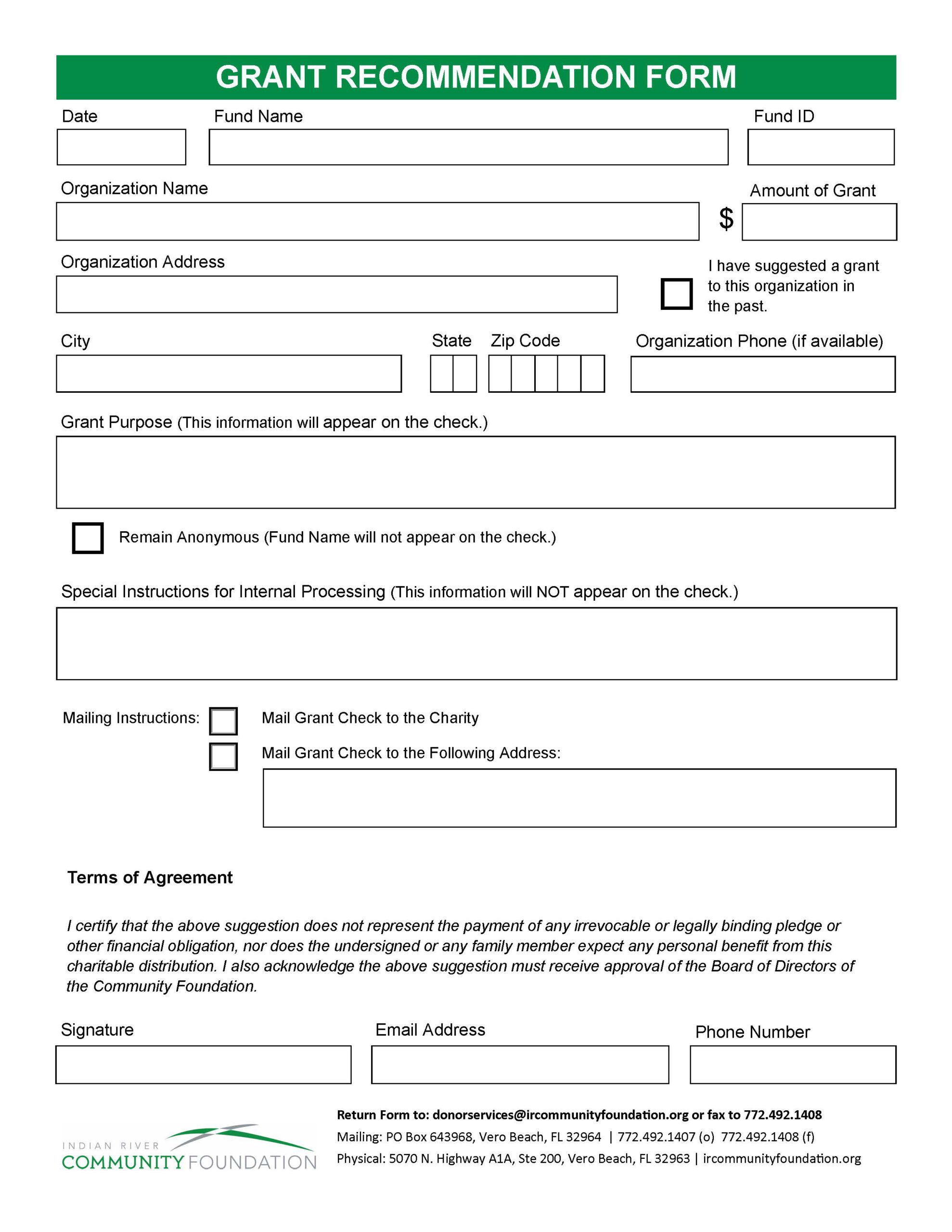 Grant Recommendation Form